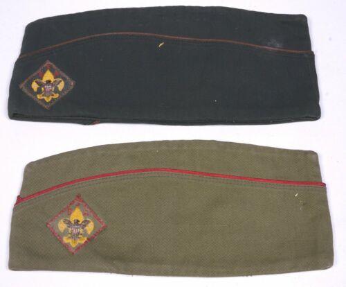 2 Vintage BOY SCOUT CAPS (Dark Green / Brown  - LG) & (Olive Green / Red - MED)