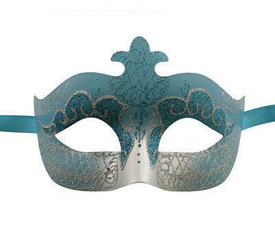 Mask Venetian Colombine Blue and Silver Evening Party 1ER Price 1276 V75