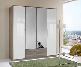 **7-DAY MONEY BACK GUARANTEE!** 4 Door Gamma High Gloss German Wardrobe - SAME DAY DELIVERY!