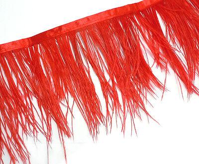 F105 PER FEET- Red Ostrich feather fringe Trim Brooch/Fascinator Material