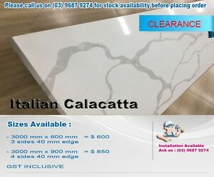 CALACATTA 40 MM STONE BENCHTOP 3000 MM X 600 MM 40 MM KITCHEN Melbourne CBD Melbourne City Preview