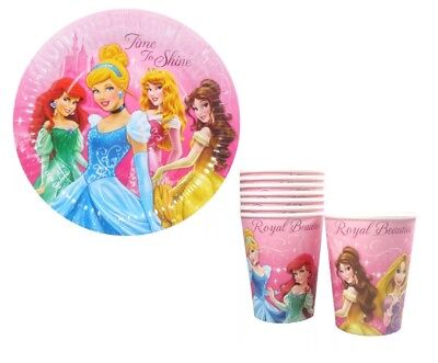 DISNEY PRINCESS PARTY PLATES AND CUPS 8 PACK - Princess Plates And Cups