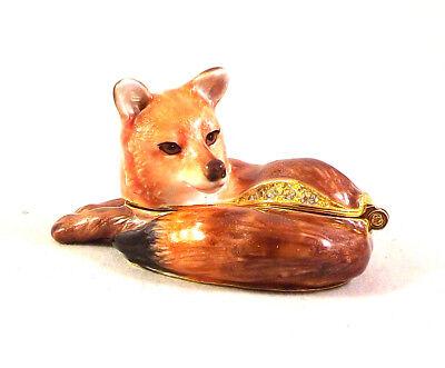 Lady Fox Pewter Bejeweled Hinged Miniature Trinket Box Kingspoint