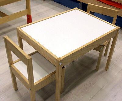 SET Tisch & Stühle Kindertisch Maltisch Kinderstuhl Kinderstühle Holz NATUR NEU