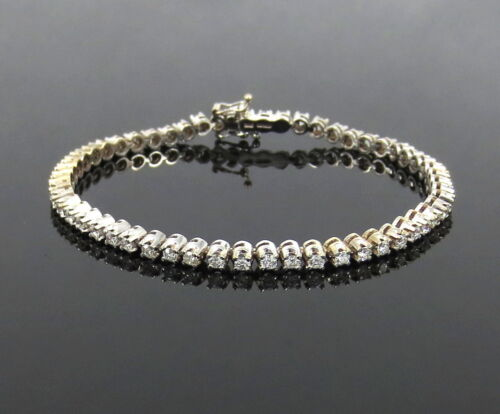 Fine Gerard 2.50ct Diamond & 18k White Gold Tall Bullet Link Tennis Bracelet