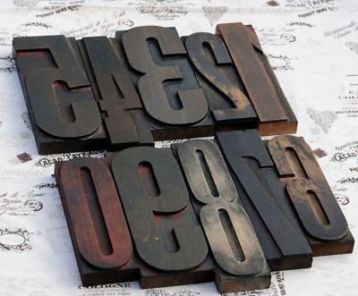 Giant 0-9 Mixed Number Set 8.86 Letterpress Old Wood Printing Blocks Type Rare