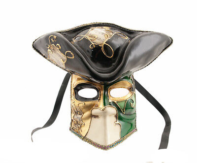 Mask Casanova from Venice Bauta Green Carnival Venetian Authentic - V45 252