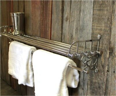 Chrome Train Rack Shelf and Towel Bar Antique Replica - The Kings -