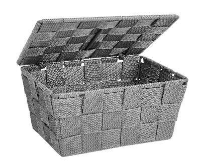 WENKO Aufbewahrungskorb mit Deckel Adria Grau Füllkörbchen Wäschebox Ablage