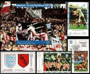 SUNDERLAND-AFC-FA-CUP-Winners-1972-1973-Football-Stamps-Bobby-Kerr-Dick-Malone