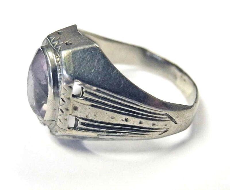 10K White Gold Amethyst Arts & Crafts Art Deco Mens RING Womens Men