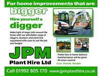 Micro to Mini Diggers and Dumpers plus small tool hire. Trailer hire or Delivery also available