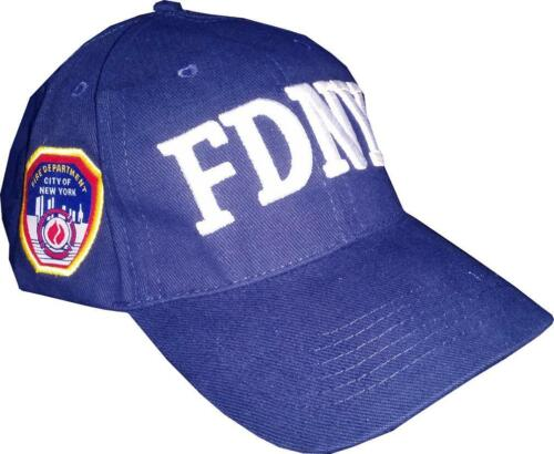 FDNY Officially Licensed Navy Fire Hat with White Text FDNY Patch on Side