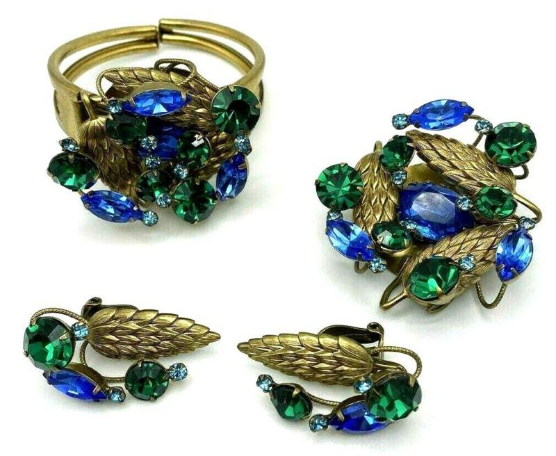 HOBE Unsigned Blue & Green Rhinestone Golden Leaves Bracelet Pin Earring Set