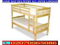 WHITE CHUNKY PINE WOOD BUNK BED AND MATTRESS SPLITABLE
