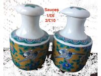 Beautiful Ceramic Bottles ( sauce/oil) etc and spice. Made in Japan.New.
