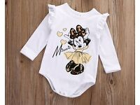 Bodysuit - Baby Girls Romper. Brand New. Disney Minnie Mouse Print to Front. Girls Clothes.
