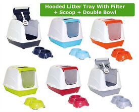 Details about Cat Flip Litter Tray + Double Bowl 6 Colours Box Hooded Toilet Filter Scoop