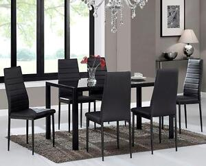 LORD SELKIRK FURNITURE - 7PC Contra Table Set in White or Black with Tempered Glass & Faux Leather Chairs - $399.00
