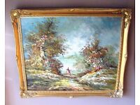 LARGE ORIGINAL OIL PAINTING SIGNED COULOURFUL IMPRESSIONIST STYLE LADY AND LAKE