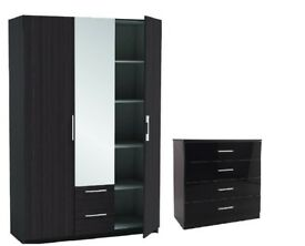 3 DOOR WARDROBE WITH MIRROR & 2 DRAWS OR CHESTER DRAWS white OR BLACK