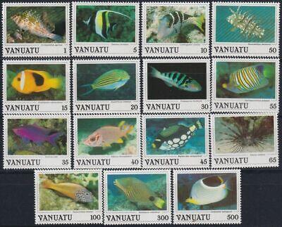 VANUATU 1987 - TROPICAL FISH DEFINITIVES SET of 15 - MNH