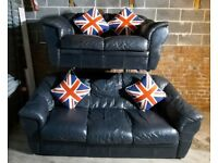 Very dark blue/black leather 3 seater and 2 seater sofas nice and comfortable