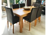HABITAT - Oak Dining Table (Seats 6-10) and 10 Brown Leather Dining Chairs