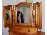 Pine Dressing Table Mirror - Triple Adjustable - with storage drawer