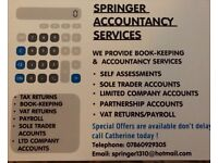 Self-Assessments, Accounting, Vat Returns, Payroll, Book-keeping Services