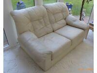 2 Seater Cream Leather Settee