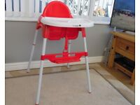 Cuggl High /Low chair With 5-point harness and a foot rest for added comfort.