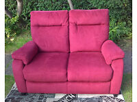 Ex-display Designer 2 Seater Red Fabric Material Sofa.