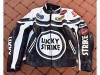 Retro-Styled 'Kevin Schwantz' Leather Motorcycle Jacket