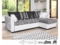 BRAND NEW MILANO LEATHER & FABRIC CORNER SOFA BED WITH STORAGE IN WHITE/GREY (FREE DELIVERY!!!)