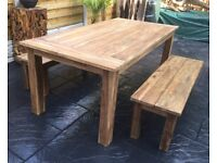 Gorgeous, Reclaimed Teak Hardwood Dining Table & Benches.