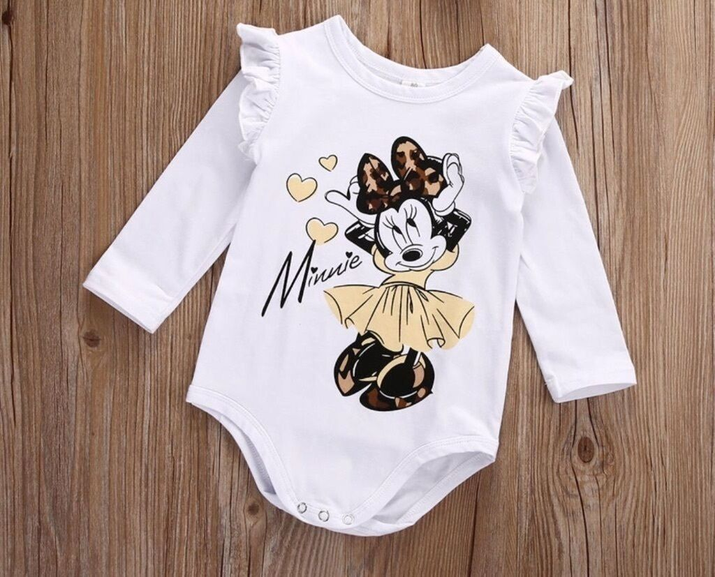 Baby Clothes. BodysuitBaby Girls Romper. Brand New. Disney Minnie Mouse PrintGirls Clothesin Tavistock, DevonGumtree - Baby Clothes Brand New. Baby Girl Bodysuit Romper. Age, 9 12 Months Colour White Long Sleeves Disney Minnie Mouse Design. Pretty Frills To The Arm. Lovely Worn Alone or With Leggings Skirt Etc. Popper Fastening. Signed Postage Paid By Buyer