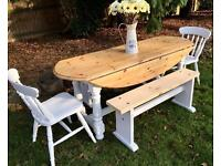 Farmhouse Pine Table, Chairs & Benches