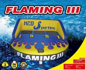 SPRING SALE!!! H2O Sporting Flaming III Water Ski Tube Towable 3 person sit on - Tubes, Water Trampolines, Snorkels
