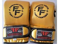 Furiousfistsuk MMA Synthetic Leather Sparring Gloves Gold Color