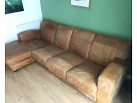 Real Leather Chaise-End Sofa