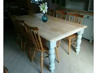 Large farmhouse table and six chairs