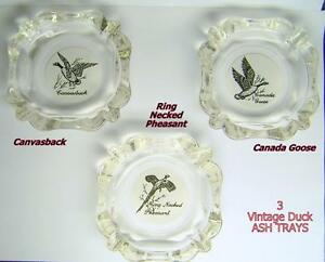 "VINTAGE ""DUCK"" ASH TRAYS – GLASS, SET OF 3"