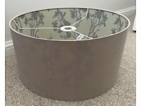 Large Drum shaped Lamp Shade in Taupe fabric