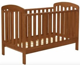 140x70cm John Lewis Rachel Cotbed, Dark Antique Baby Cot Bed / Toddler Bed Natural Wood