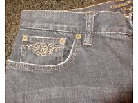RALPH LAUREN LADIES BLACK EMBROIDERED JEANS AS NEW