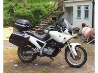 BMW GS650 Funduro Motorbike touring white, panniers