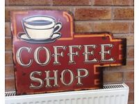 Coffee Shop Tin Plate Sign, New.