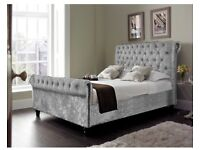 Crushed velvet sleigh bed - double