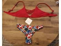 Red flowery bikini